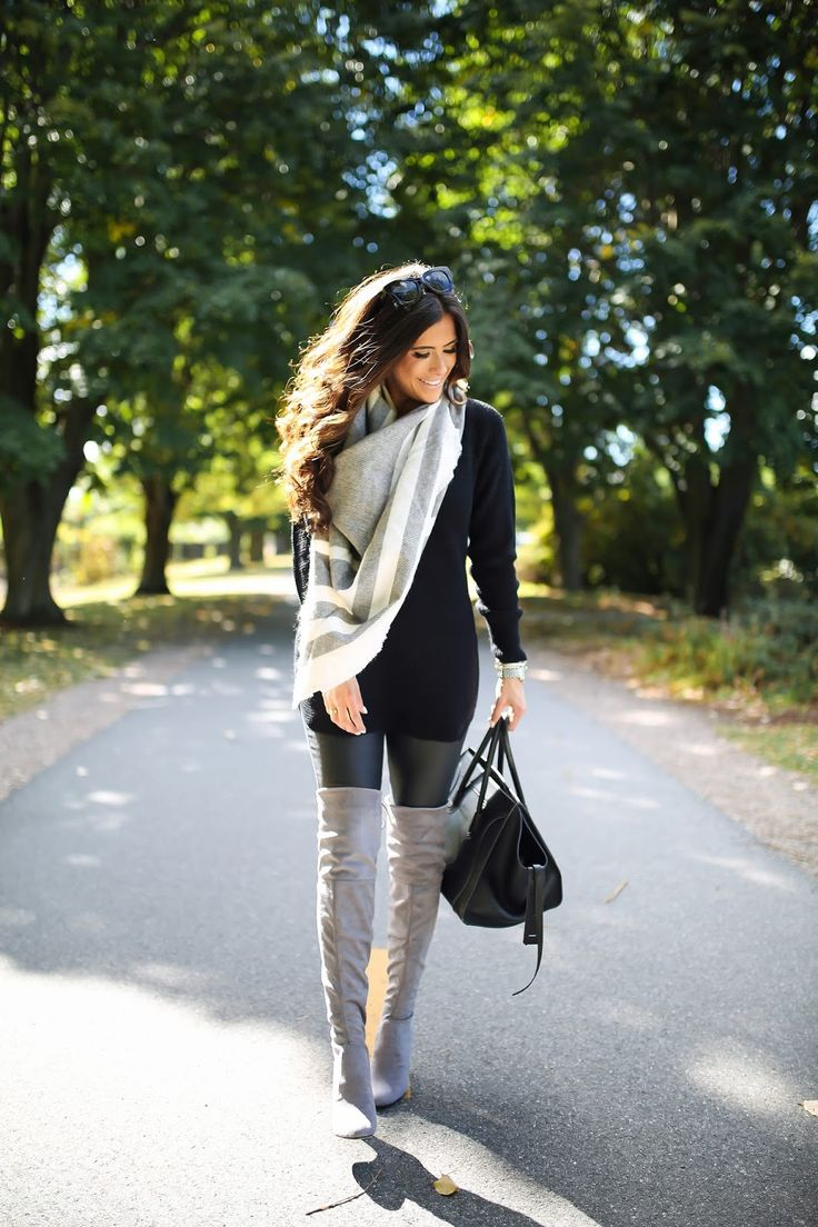 Over The Knee Boots w/Faux Leather Leggings