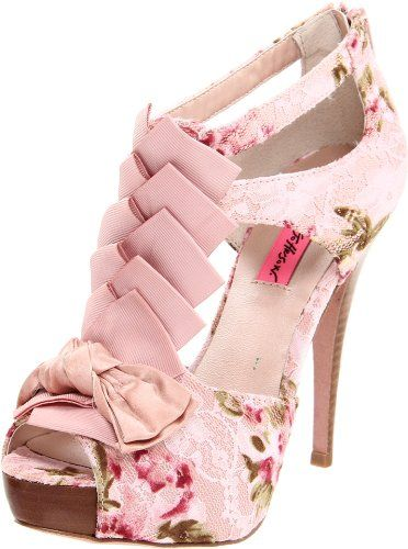 Betsey Johnson Women's Iconnn T-Strap Pump - This fancy fabric dress pump from Betsey Johnson is sure to put any ensemble in party mode. Accented with ruffles down the t-strap, and topped with a satiny, knotted bow, the Iconn features a vintagey silhouette, with breezy cutouts at the side and a zip-up back. The covered platform and matching stiletto heel streamline the look and create a leggy effect for your favorite gam-baring outfits.: Fashion, Betsy Johnson, Style, Betseyjohnson, Pumps, Floral Heels, Pink Shoes, High Heels, Betsey Johnson