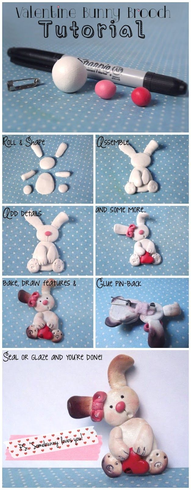 Make this adorable bunny brooch!