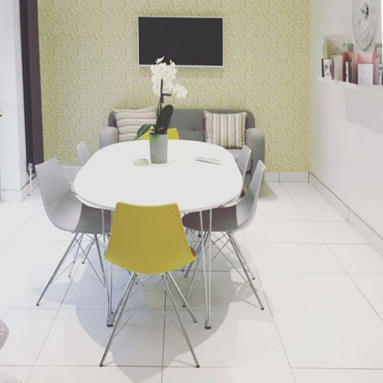 Gemma's Yellow and Grey Kitchen creating a calm and minimal interior