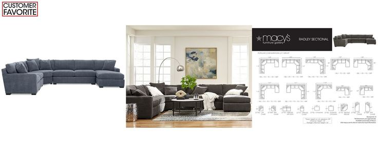 Best Radley 5 Piece Fabric Chaise Sectional Sofa Custom Colors 400 x 300