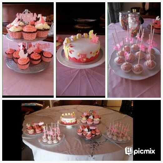 Baby shower: Desert station - chocolate cupcakes with vanilla and strawberry flavoured icing, fondant covered chocolate cake and cake pops