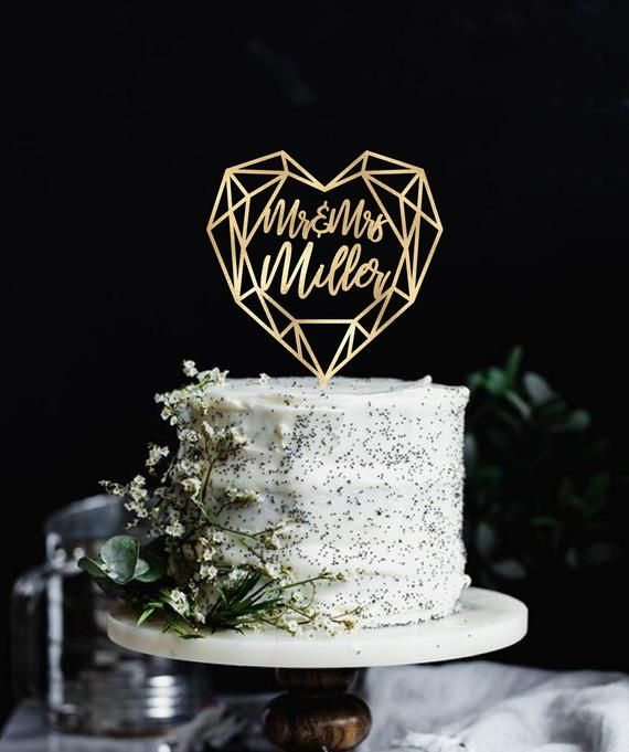 Wedding Cake Topper Geometric Heart Cake topper Last name cake topper Monogram Cake Topper Modern Ca