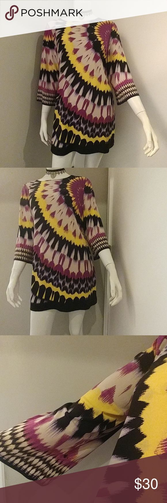 Adorable Alfani Petite Dress/ Tunic Colorful pattern of purple, yellow, tan and black. Slight bell sleeves. Can be worn as a cute little dress or as a tunic! Easy to wash and wear😀. Size Petite Large Alfani Petite Dresses