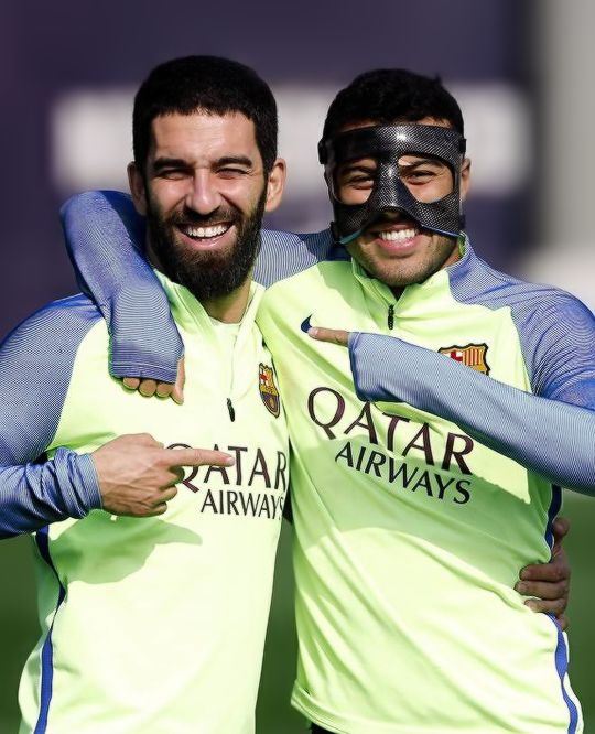 Arda Turan and Rafinha during FC Barcelona training session 27/02/2017