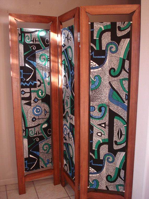 Second Wood and African Fabric Vlisco Folding Screen by LaAntigua, $750.00