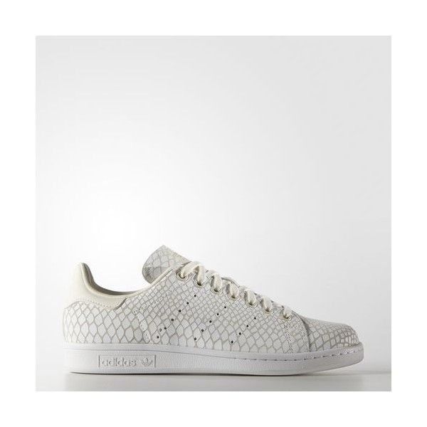 adidas Stan Smith Shoes Off (735 SEK) via Polyvore featuring shoes, white, python print shoes, stripe shoes, snake skin shoes, white shoes and white snakeskin shoes