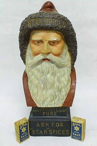 Advertising Figure - plaster, well modelled figure of Santa Claus' Head - 'Ask for Star Spices' - some plaster and paint have been retouched, one section to side base has split - rare advertising figure from Robert Harper, Brisbane & Sydney - 90% - 42cm tall. Condition: Very Good. #Advertising #Collectables #MADonC