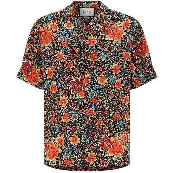 ab8db3d5c0e Gucci Floral Print Silk Bowling Shirt (11.501.290 IDR) ❤ liked on Polyvore  featuring men s fashion
