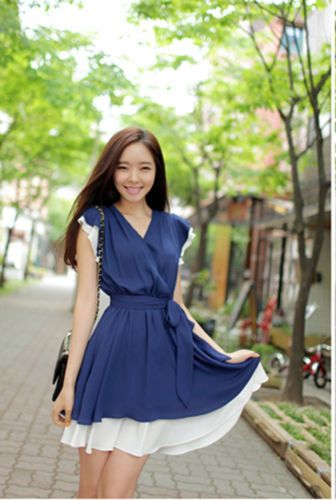 Korean Fashion Summer Outfit Chiffon V Neck Sleeveless Dress | eBay