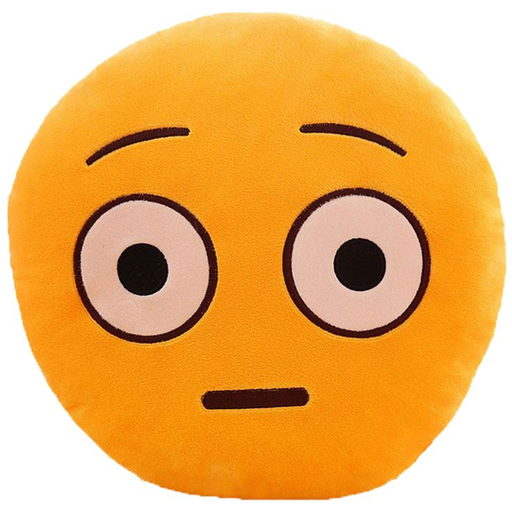 BH QQ Emoticon Series Shocked Face Emoji Plush Expression Pillow