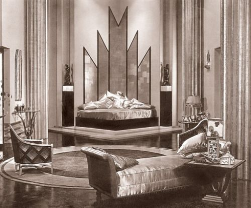 Art Deco bedroom. I love how the space still feels soft and feminine despite the hard line movement.