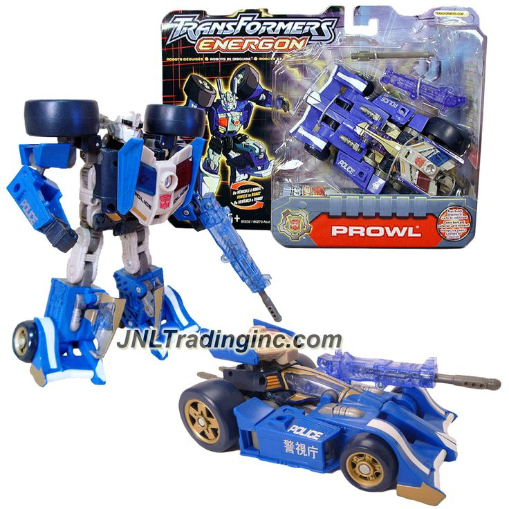 """Hasbro Transformers Energon Powerlinx Series 6"""" Tall Figure - Autobot PROWL with Missile Launcher and Collector Card (Vehicle: Formula 1 Police Car)"""