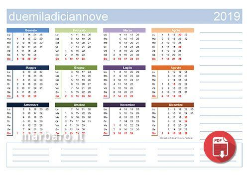 Calendario Da Scaricare.Calendari 2019 Con Le Festivita Italiane In Formato Pdf Da