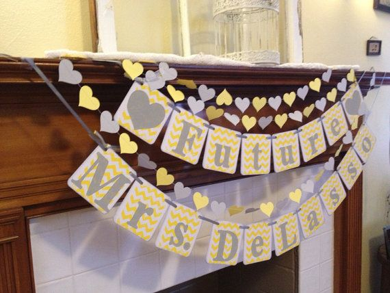 Chevron Bridal Shower Decoration FUTURE MRS. by ClassicBanners, $34.00 - custom names - bachelorette party banner - party banner - grey and yellow wedding decor - gray and yellow wedding decor - yellow and gray paper heart garland