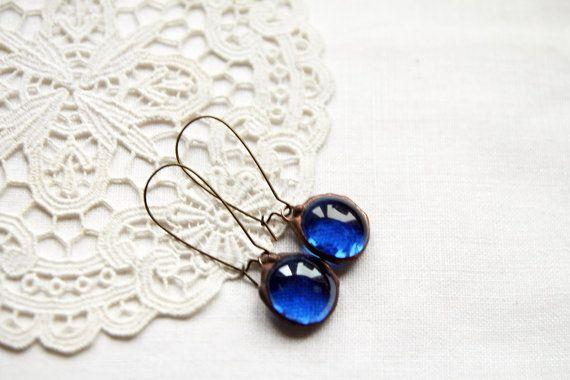 Navy blue copper retro earring shiny sky joy by CreativeStudioML