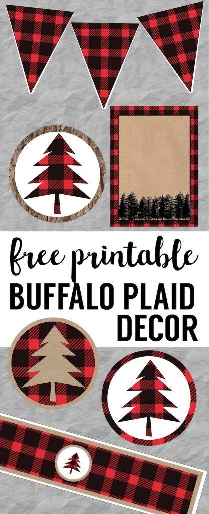 Buffalo Plaid Lumberjack Christmas party decor, birthday party, or baby shower free printables. Easy DIY Christmas, birthday, or baby shower decorations. Rustic woodland printables.