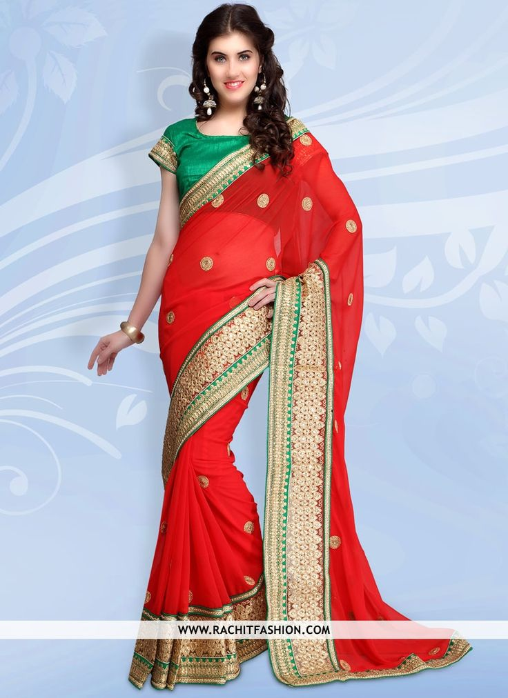 Buy our considerable chiffon party wear sarees In red.  #partywear #sarees
