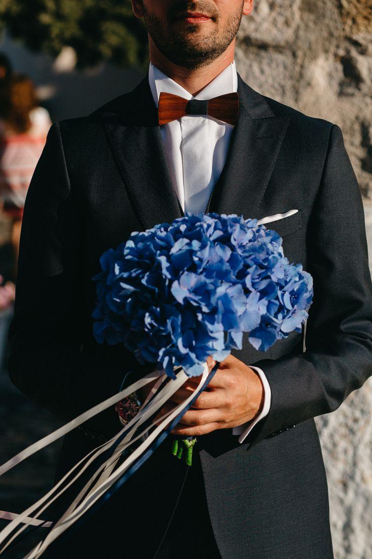 hydrangea blue bridal bouquet