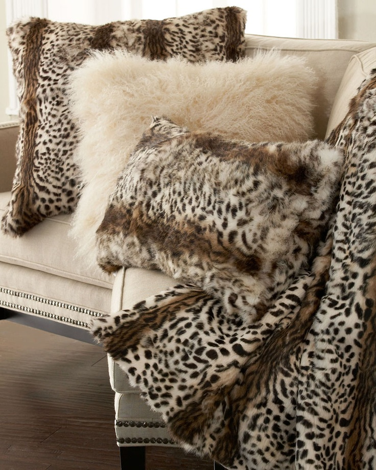 adrienne landau light leopard animal print throw and pillows