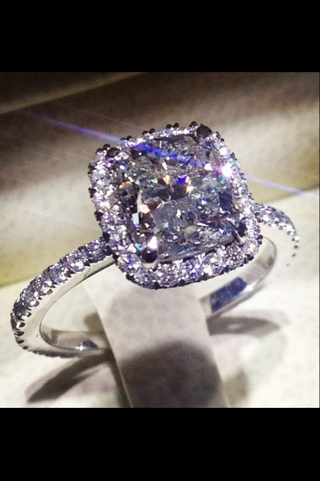 Custom made engagement ring, 2 Carat center Cushion cut Diamond in a mico pave halo setting. Stunning!!