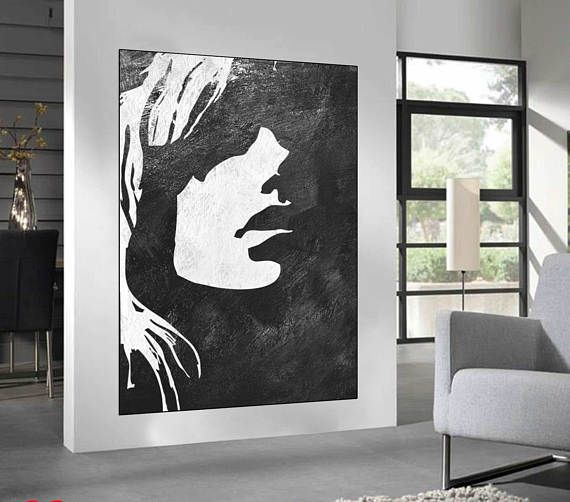 Black White Minimalist Abstract Painting woman face silhouette, large acrylic painting, Black and White minimalist wall art