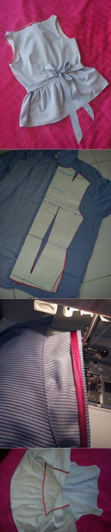 Переделка: топ с баской из мужской рубашки