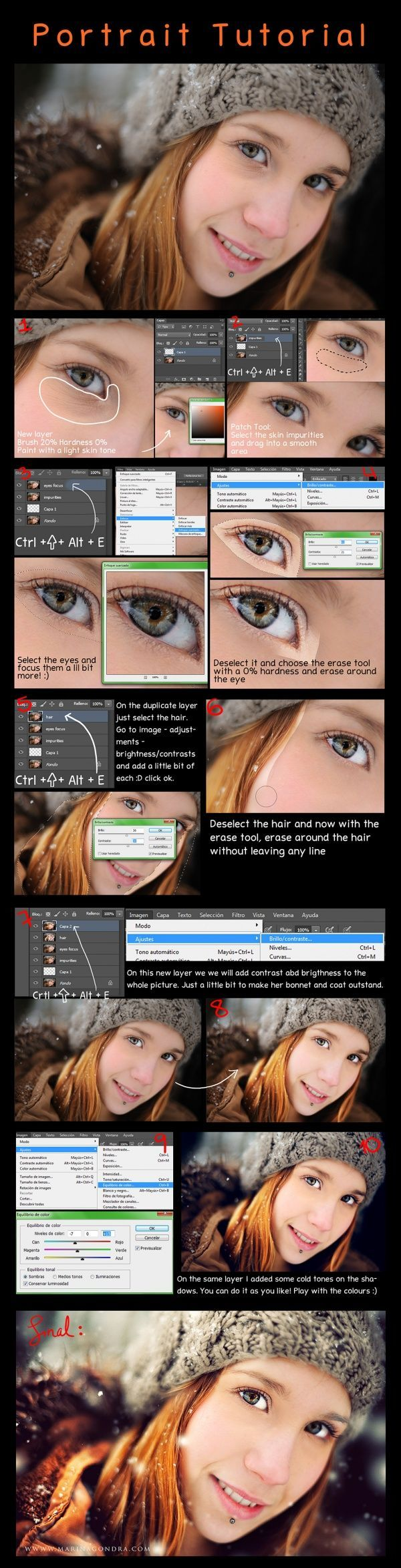 Photoshop Tutorial: How to retouch a portrait!  Tutorial de Photoshop: Cómo retocar un retrato!