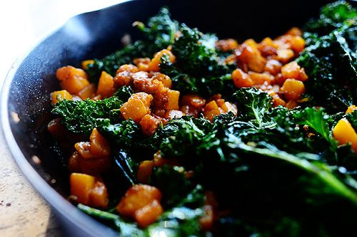 Butternut Squash & Kale...one of my all-time favorite veggie combinations! Eat it by itself or as a filling for quesadillas, panini, etc. Yum!