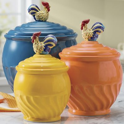 3-Piece Colorful Rooster Canister Set -- OMG, I want these!!!