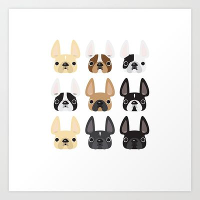 Frenchie Faces Art Print by French Bulldog Love - $15.00