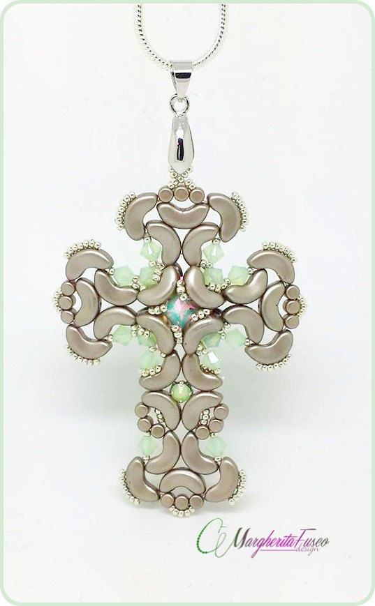 Gothic cross pendant pattern. Pdf tutorial with by 75marghe75