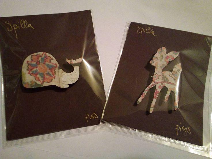 spillette balena&Bambi #flower #shabbychic #tagliolaser #lasercut #lasercutting #lasercutjewelry #accessories #fashion  #pins #spille #cartonevegetale #carta #recycle #reuse #artigianato #handmadeinitaly #handmade by liqui_rizia