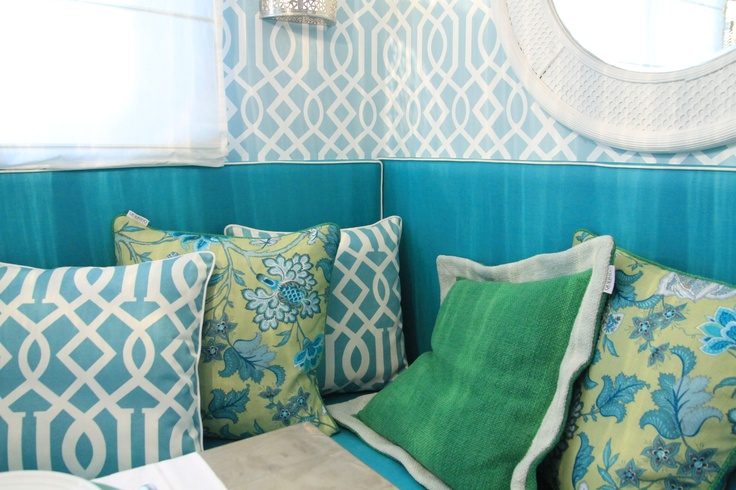 Morrocan Inspired Kitchen - Project by Ana Antunes - for Tv Makeover Show  - Trellis Wallpaper, canovas pillows, green pillow
