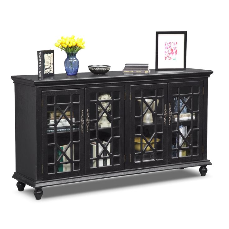 Dont fret make a statement with the distressed black grenoble media credenza the geometric chinese chippendale fretwork
