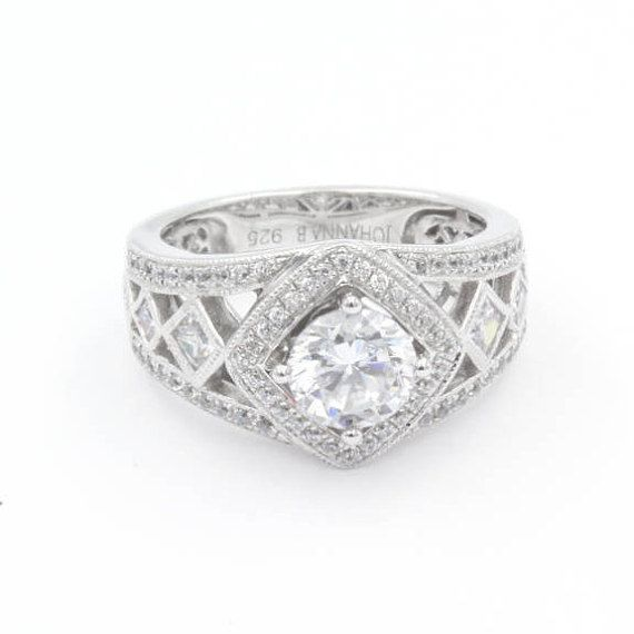 1.0 ct Round Cut CZ Engagement Ring, 925 Sterling Silver, CZ Halo, Pave Band w/ Accent Princess Cut CZ Stones (770)