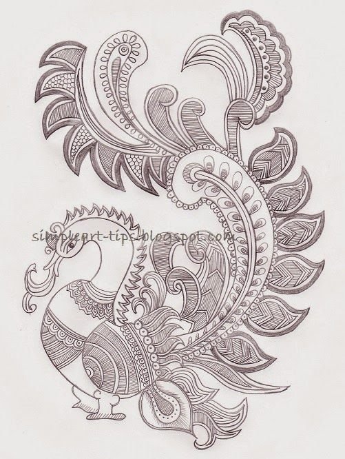 Simple Art & Craft: Madhubani style peacock pencil sketch