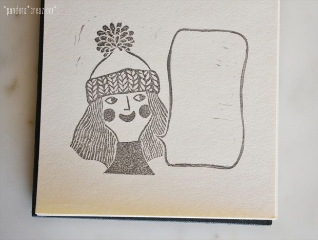 handcarved girl rubber stamp with word balloon > pandora