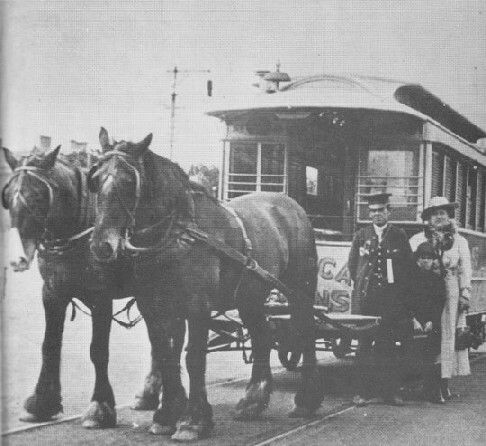 Melbourne Zoological Garden's horse tram.It ran between the junction of Gatehouse St with Royal Pde,Parkville.to the main gates of the Zoo.
