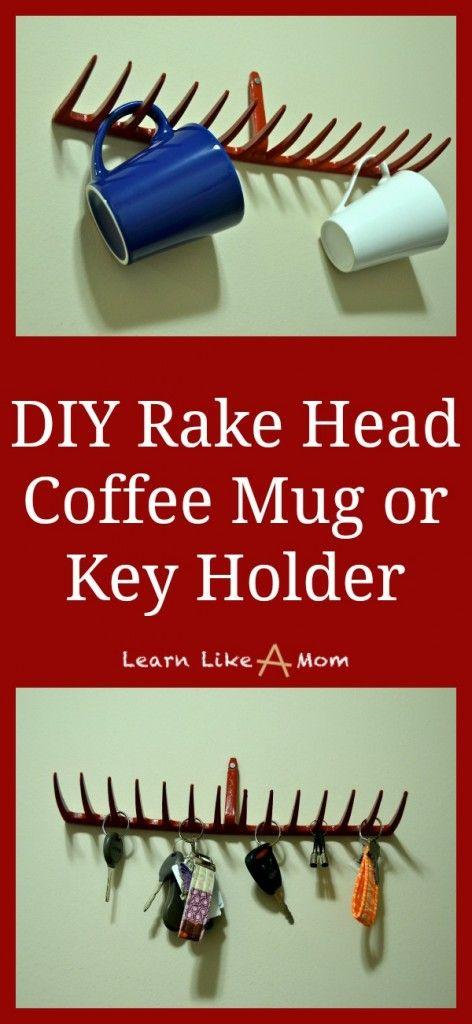DIY Rake Head Coffee Mug or Key Holder! - Learn Like A Mom! http://learnlikeamom.com/creative-corner/diy/two-rake-head-holders/ #rakehead #d...