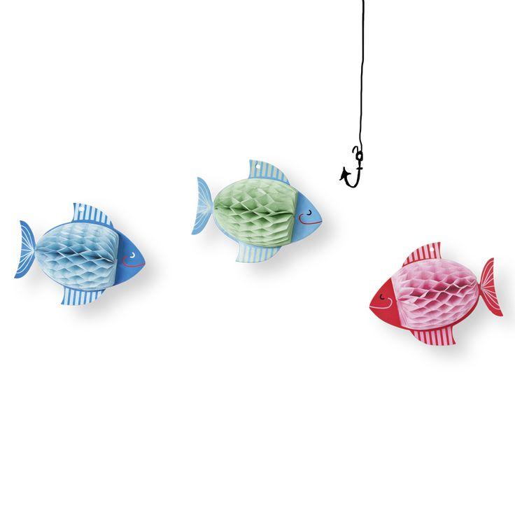 Rybki (małe i duże) składane z papieru, dekoracja #fish #foldable #decoration #rybka