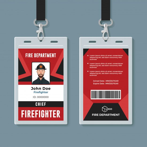 Firefighter Id Card Design Template Id Card Template Graphic Design Business Card Card Design