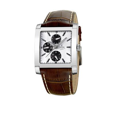 Montre Festina homme acier bracelet cuir #watch