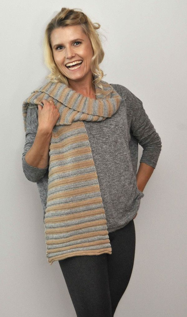 Stripe Scarf Fawn/Grey – Great scarf for him. Great scarf for her. Natural colour combinations in a luxuriously soft horizontal rib.