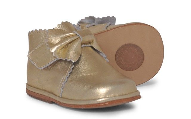Baby Girls Gold Leather Velcro Boot