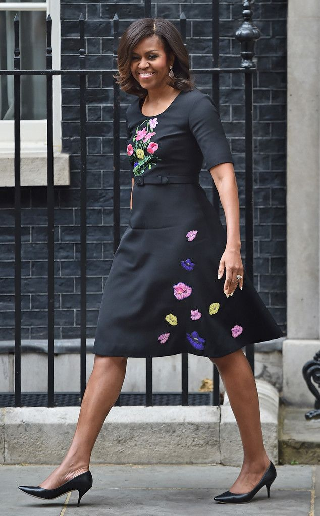 Spring Bouquet from Michelle Obama's Best Looks  The First Lady is flawless in this black frock with floral embellishments, no?
