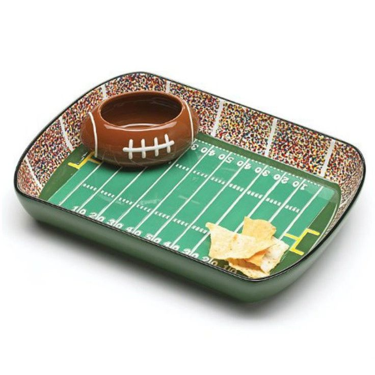 Ceramic Chip And Dip Dish Set Football Stadium Tray Party Snack Bowl Product Description: Even more so than the actual game, the pinnacle of football game day is the beer and chip & dip. The ceramic g