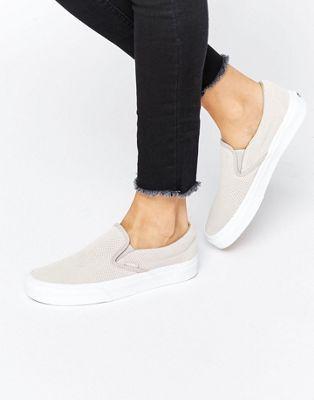 Vans Classic Nude Perforated Suede Slip On Sneakers