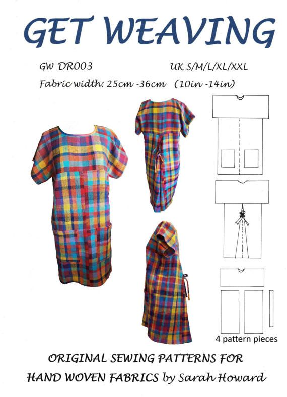 GW DR003 S-XXL Overhead dress pattern for hand woven by GetWeaving