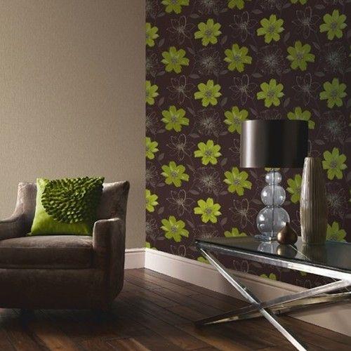 Samba motif lime green wallpaper arthouse limes for Green wallpaper for walls